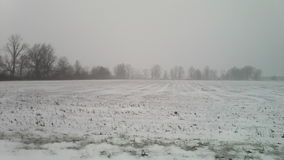 Lód i śnieg Kemp droga w Lima, daleko, Ohio Obraz Stock