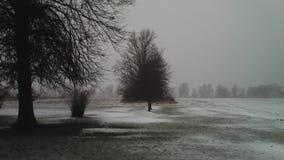 Lód i śnieg Kemp droga w Lima, daleko, Ohio Obraz Royalty Free