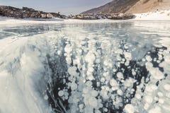 Lód Jeziorny Baikal z bąblami Fotografia Royalty Free