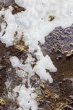 Lód Marznąca kałuża na żwir wiejskiej drodze obraz stock
