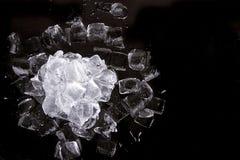 Lód na czarny tle Zdjęcie Royalty Free