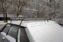 Lód na drzewach i samochodach zdjęcie stock
