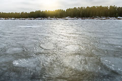 Lód na jeziornym Ladoga Zamarznięta woda Tekstura na lodzie Obrazy Royalty Free