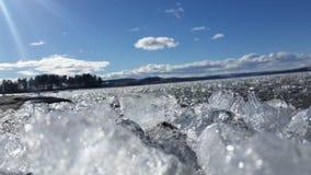 Lód na jeziorze w wiośnie Zdjęcia Stock