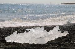 Lód na plażowej Lodowej lagunie w Iceland Zdjęcia Stock