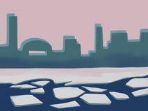 Lód na rzece połamany lód ilustracji