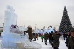 Lód postacie w Moskwa Obrazy Stock