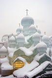 Lód postacie w Moskwa Kizhi kościół kompleks Obraz Royalty Free