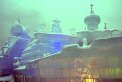 Lód postacie w Moskwa Lodowy kościół Fotografia Stock