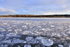 Lód unosi się na rzece Fotografia Royalty Free