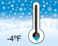 Lód - zimny termometr, zima krajobraz ilustracja wektor