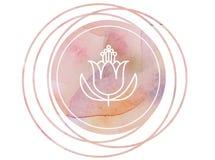 Lótus circulares do símbolo da meditação da mandala da aquarela ilustração stock