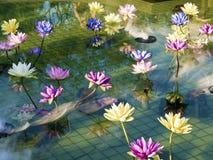 Lótus coloridos plásticos da decoração na lagoa, Taipei Imagens de Stock Royalty Free