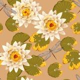 Lótus de florescência sem emenda Imagens de Stock Royalty Free