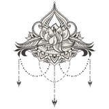 Lótus desenhados à mão no estilo do leste Imagens de Stock Royalty Free