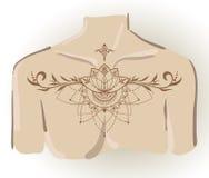 Lótus desenhados à mão no estilo do leste Imagem de Stock Royalty Free