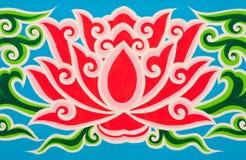 Lótus na pintura tailandesa tradicional do estilo Fotos de Stock Royalty Free