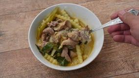 Löffel, der gekochtes Huhn mit Kokosnusstrieb im Curry auf Schüssel schaufelt stock footage