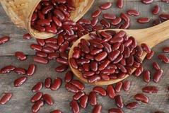 Löffel der roten Bohnen auf hölzernem Hintergrund Stockfoto