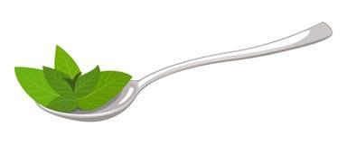 Löffel mit Grün verlässt Ikonenvektorillustration stock abbildung