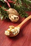 Löffel mit kutia â traditioneller Weihnachtsbonbonmahlzeit Stockfotografie