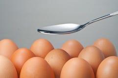 Löffel und eine Gruppe des Eies Stockfotos
