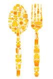 Löffel und Gabel mit Nahrungsmittelikone Lizenzfreies Stockbild