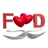 Löffel- und Gabelzeichen für Nahrungsmittelgeliebte stock abbildung