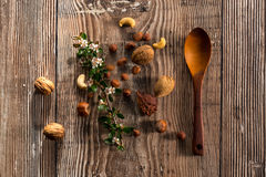 Löffel und Nüsse Stockbild