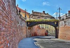 Lögnare överbryggar i Sibiu Arkivbild