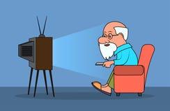 Löjlig karikatyr, åldringen man klockaTV stock illustrationer