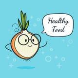 Lök med anförandebubblan Ballongklistermärke Kall grönsak också vektor för coreldrawillustration Klyftigt nerdtecken för lök sund stock illustrationer
