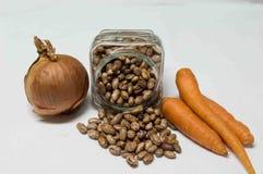 Lök, morot och bruna gula bönor i bunken Arkivfoton