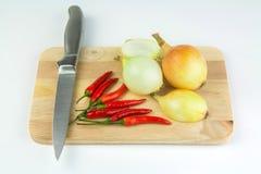 Lökar och chilies på skärbräda Arkivfoto