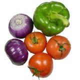 Lökar, peppar och tomat Royaltyfria Bilder