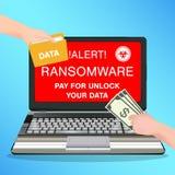Lön för viruset för ransomware för bärbar datordatoren låser smittad för data upp Fotografering för Bildbyråer