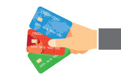 Lön med kreditkort tre Fotografering för Bildbyråer