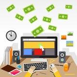 Lön per illustration för klicklägenhetdesign Arkivfoton