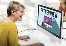 Lön per siktsonline-marknadsföringsbegrepp arkivfoton