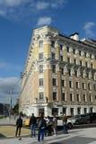 Lönande hus A Kunin - L Matveevsky på den Smolensk boulevarden i Moskva royaltyfri bild