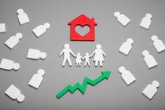 Löneförhöjning för familjgods, hem- egenskapstillväxtbegrepp arkivfoto