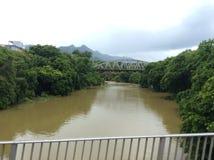 Löneförhöjningen av vattennivån efter ett tungt tropiskt häftigt regn på ön av Mauritius royaltyfri bild