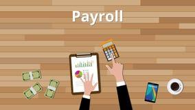 Lönelistabegrepp med affärsmannen som arbetar på något pappers- dokument med räknemaskinen och pappers- dokument med grafen och d Arkivbilder