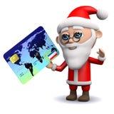 löner för 3d Santa Claus med en kreditkort Royaltyfri Bild