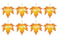 Lönnlöv med försäljningsrabatter Royaltyfria Foton