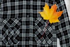 Lönnlöv på en svart rutig skjorta close upp trendigt begrepp Royaltyfria Bilder