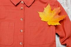 Lönnlöv på terrakottaskjortan Närbild trendigt begrepp Royaltyfria Bilder