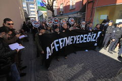 lönnmorddemonstrationsjournalist royaltyfri foto