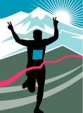 löpare för mållinjemaratonrace Royaltyfri Bild