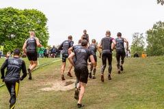 Löpare på en gräskulle Fotografering för Bildbyråer